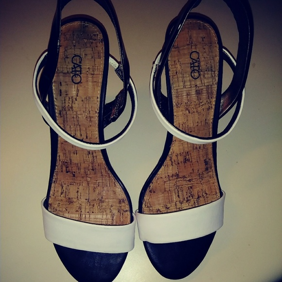 Cato Shoes - Black and White Wedge Sandals with Straps